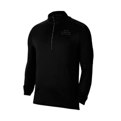 Nike 上衣 1/2-Zip Running Top 男款 路跑 反光 袖套 立領 簡約 半開襟 黑 銀 CU7853010