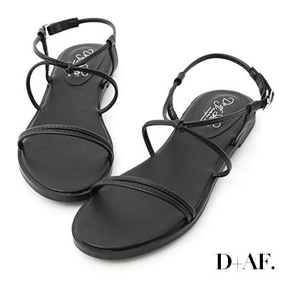 D+AF 夏氛日常.一字交叉細帶平底涼鞋*黑
