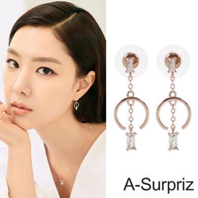 A-Surpriz 韓劇愛的迫降100%925純銀C型方鑽耳環(玫瑰金)