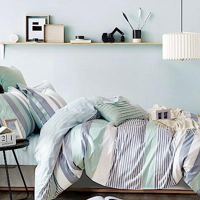La Lune 台灣製40支精梳純棉單人床包雙人被套三件組 綠光花園