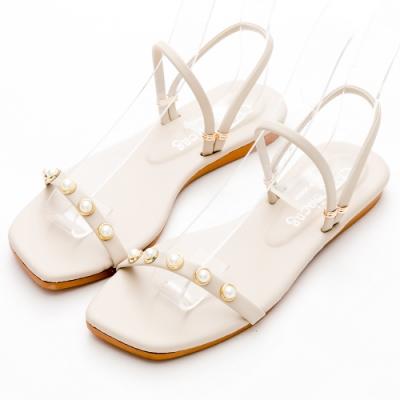 River&Moon涼鞋 台灣製一字珍珠2way方頭平底涼拖鞋 米