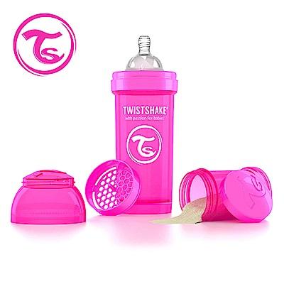 Twistshake 瑞典時尚 彩虹奶瓶/防脹氣奶瓶260ml/奶嘴口徑0.5mm-甜心粉