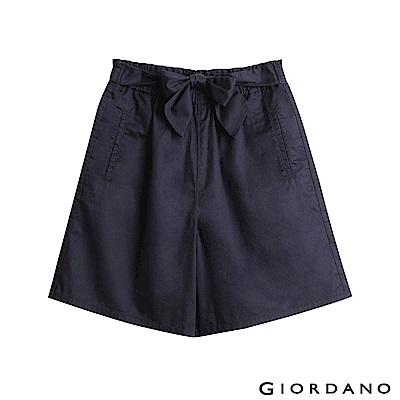 GIORDANO 女裝鬆緊腰蝴蝶結綁帶寬短褲-66 標誌海軍藍