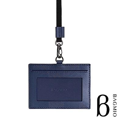 BAGMIO 人字紋牛皮橫式3卡證件套 午夜藍 附織帶