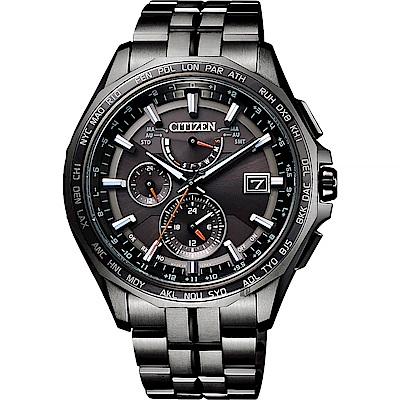 CITIZEN 星辰 限量光動能電波鈦金屬手錶-黑/42.7mm(AT9097-54E)