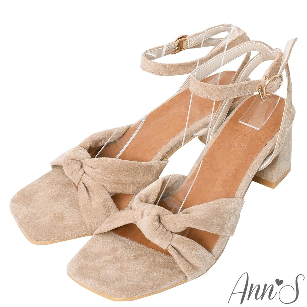 Ann'S夏日的親密接觸-舒適絨布氣質扭結方頭粗跟涼鞋-杏(版型偏小)