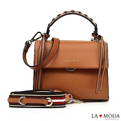 La Moda 設計師款多背法大容量肩背斜背方包(棕)