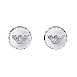 Emporio Armani亞曼尼 品牌標誌珍珠母貝圓形耳環 銀色