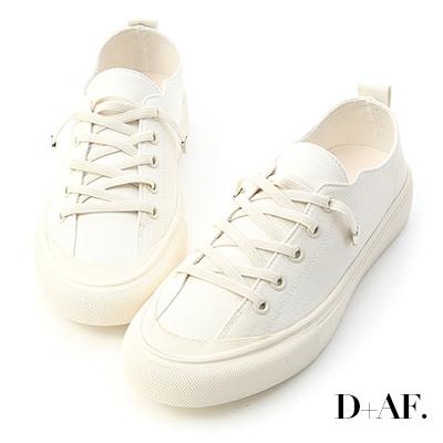 D+AF 舒適日常.鬆緊綁帶休閒帆布鞋*白