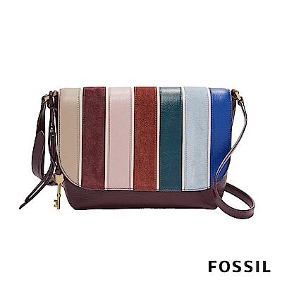 FOSSIL MAYA 俐落簡約真皮斜背包-條紋拼接