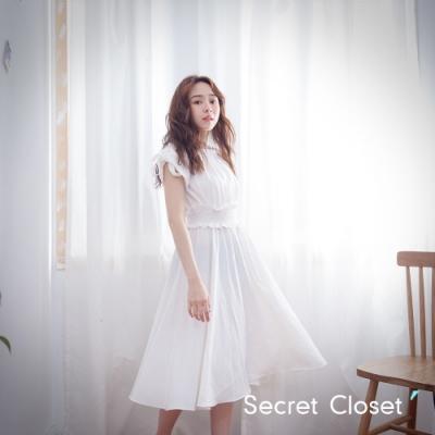 Secret Closet-抓皺一字領長版洋裝-白色