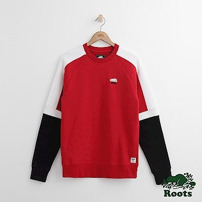 Roots 男裝-雙臂色塊圓領上衣-紅色