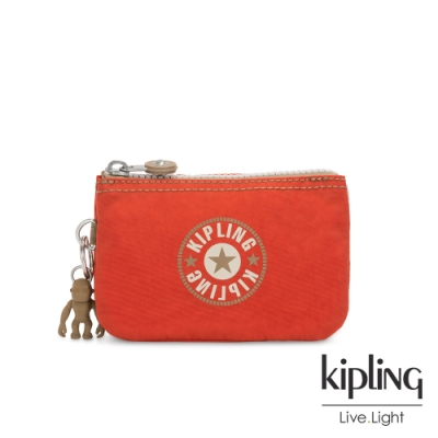 Kipling 時髦亮橘色復古LOGO三夾層配件包-CREATIVITY S