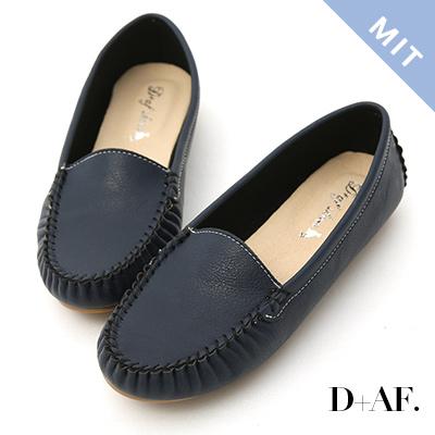 D+AF 舒適首選.MIT素面莫卡辛豆豆鞋*藍