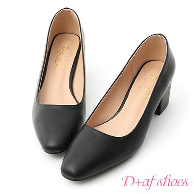 D+AF 知性色調.素面小方頭中跟鞋*黑