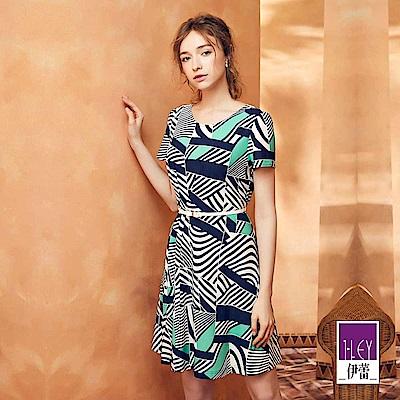ILEY伊蕾 抽象幾何印花短袖洋裝(藍)