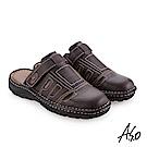 A.S.O手縫氣墊 縫線牛皮氣墊涼拖鞋 咖啡