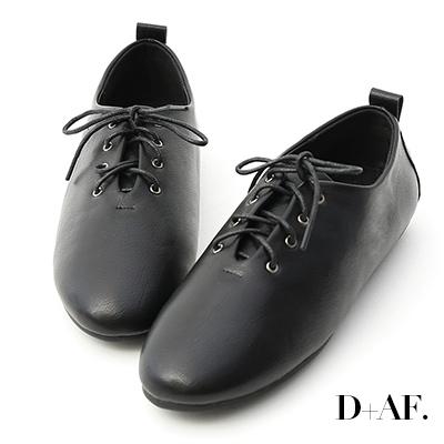 D+AF 俏皮女孩.簡單綁帶豆豆底小白鞋*黑