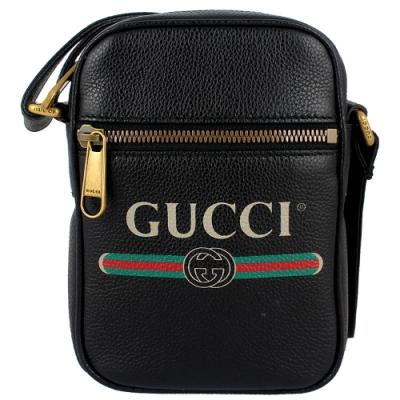 GUCCI 品牌標誌印刷圖騰斜背包(黑色/迷你)