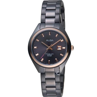 ALBA 漫步都會時尚腕錶(AH7R20X1)黑x玫瑰金/31mm