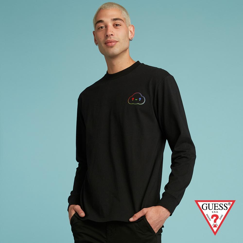 GUESS-男裝-FriendsWithYou系列 彩色背後LOGO長袖T-黑 原價1490