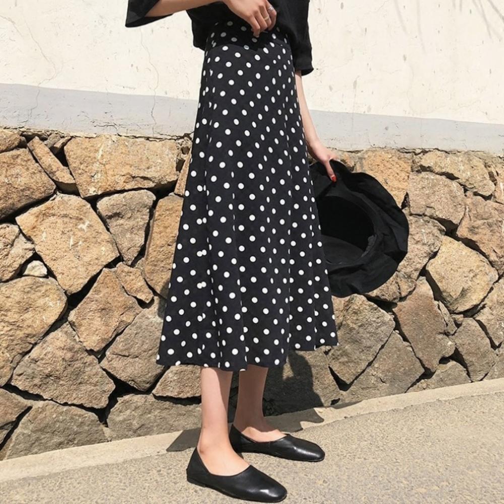 中大尺碼波點鬆緊腰復古大圓點半身裙A字裙XL~4L-Ballet Dolly