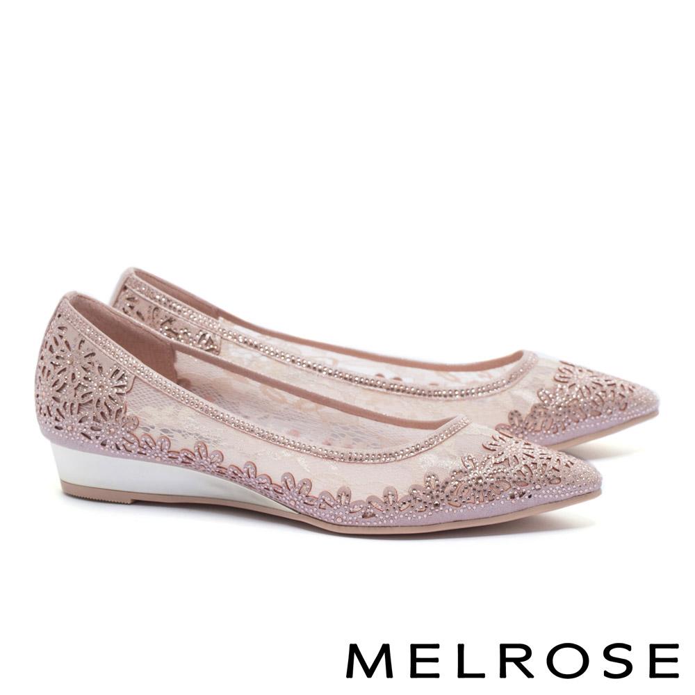 低跟鞋 MELROSE 優雅別致晶鑽點綴蕾絲網紗尖頭楔型低跟鞋-粉