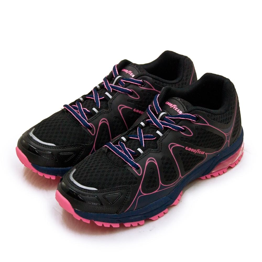 GOODYEAR 固特異 專業緩震氣墊越野慢跑鞋 HAWK CLAW 越野越跑系列 黑藍桃 92810