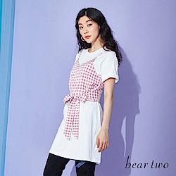 beartwo 兩件式細肩格紋層次長版T恤上衣(二色)