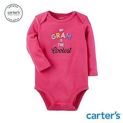 Carter s台灣總代理 趣味圖文粉紅長袖包屁衣