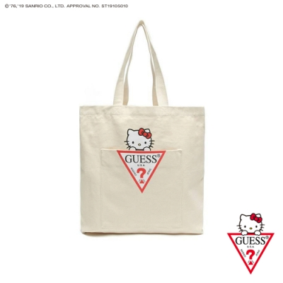 GUESS-女包-Hello Kitty系列聯名帆布包-白