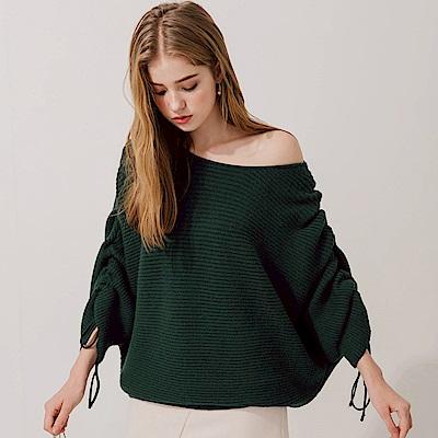AIR SPACE 隨性感單肩抽繩針織毛衣(墨綠)
