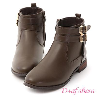 D+AF 率真氣息.雙金釦皮帶平底短靴*灰
