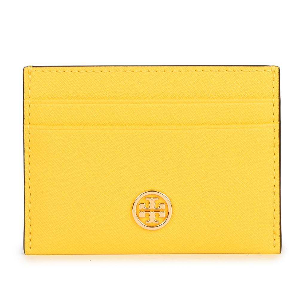 TORY BURCH Robinson 經典小圓標防刮皮革卡片證件夾-檸檬黃