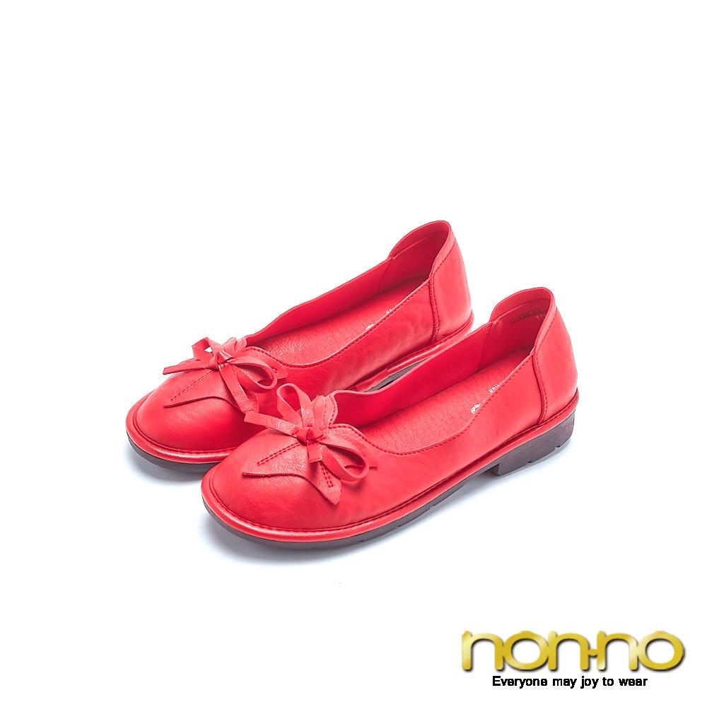 nonno 甜美女孩 素色緞帶休閒娃娃鞋 紅