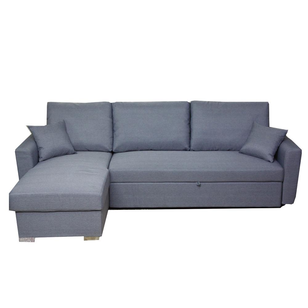 綠活居 安比莉亞麻布L型沙發/沙發床(拉合式椅墊便利設計)-270x165x95cm-免組