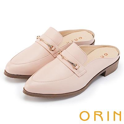 ORIN 復古潮流 金屬飾扣牛皮低跟穆勒鞋-粉裸