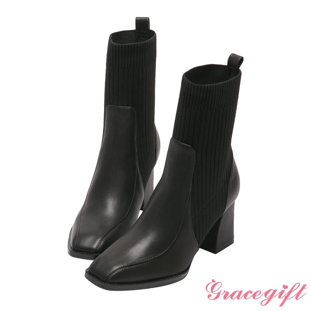 Grace gift X唐葳-聯名真皮拼接方頭高跟中靴 黑