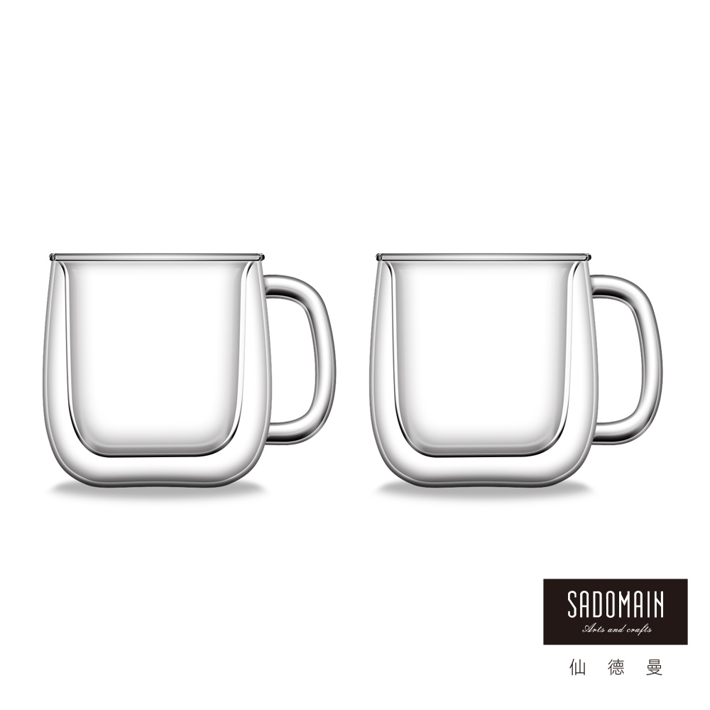 仙德曼SADOMAIN  雙層玻璃咖啡馬克杯250ml (2入組)