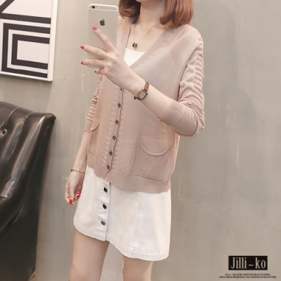 JILLI-KO 透膚排釦針織罩衫- 粉色/白色