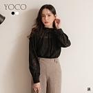 東京著衣-YOCO 輕透鎂光鏤空蕾絲圖騰公主袖上衣