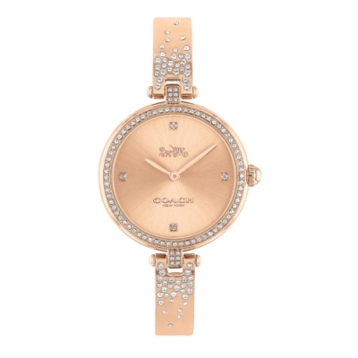 COACH 優雅晶鑽手環玫瑰金腕錶29mm(14503651)