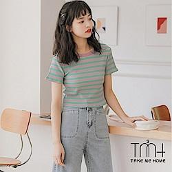 撞色條紋短版針織上衣-TMH
