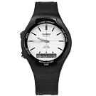 CASIO 卡西歐 復古雙顯橡膠手錶-白x黑 AW-90H-7E 38mm