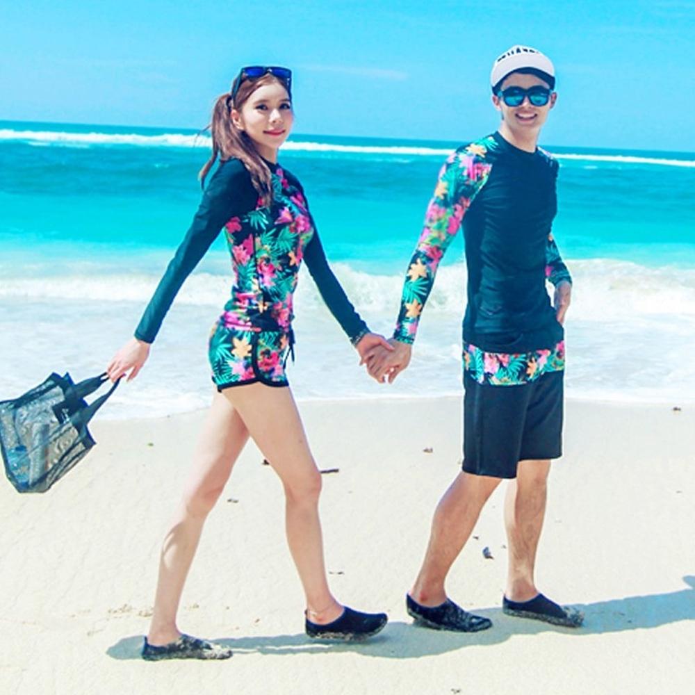 Biki比基尼妮泳衣,花間情侶泳衣長袖泳衣男泳褲(男購買區)