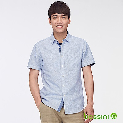 bossini男裝-棉麻條紋短袖襯衫01藍