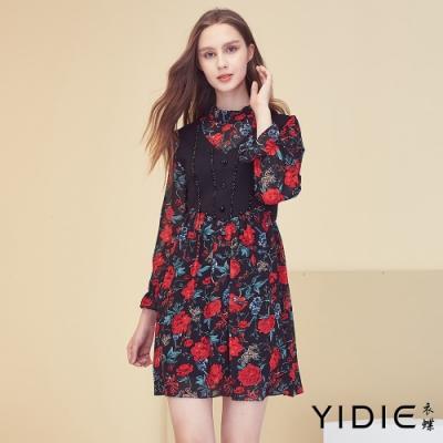 【YIDIE衣蝶】高領黑鑽玫瑰短洋裝
