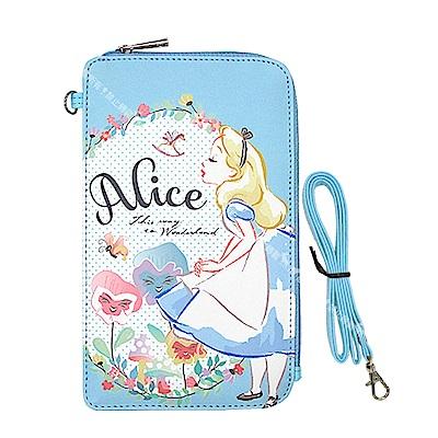 迪士尼授權正版 PU系列花朵風L手機肩背包(愛麗絲)