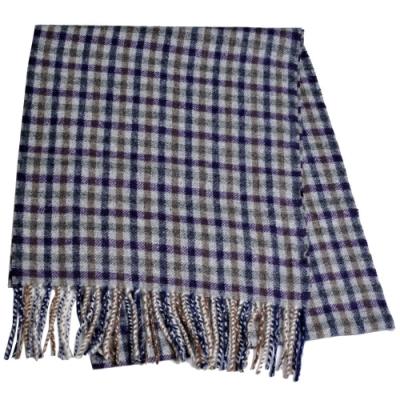 Aquascutum 英國製100%羊毛經典品牌字母LOGO刺繡圍巾(紫灰格紋)