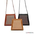 La Moda 設計感雙色拼接大容量肩背斜背包方包(三色)